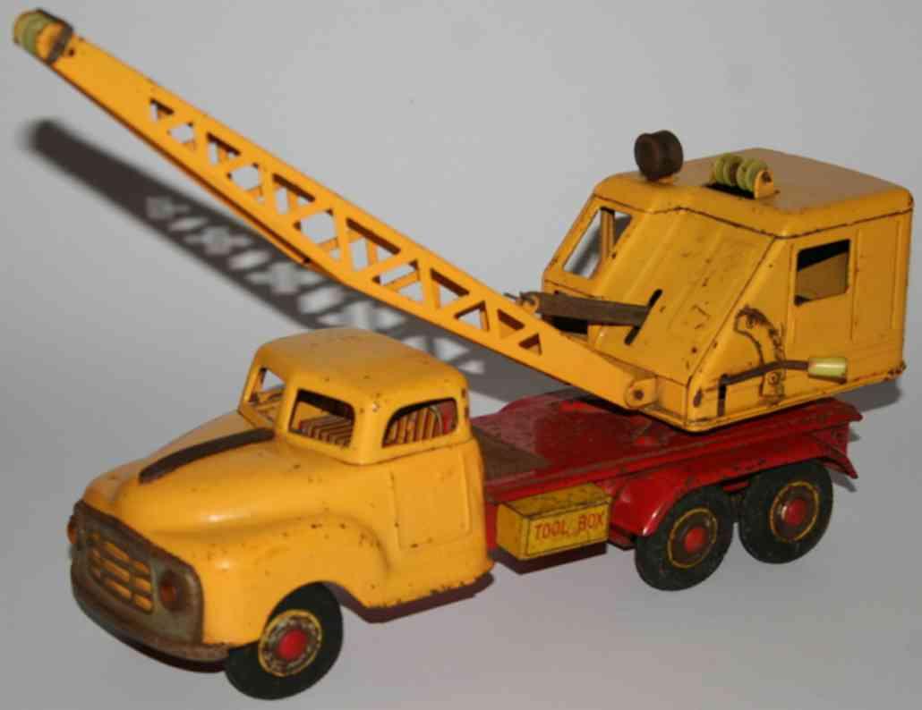 marusan shoten blech spielzeug kranlastwagen in gelb und rot
