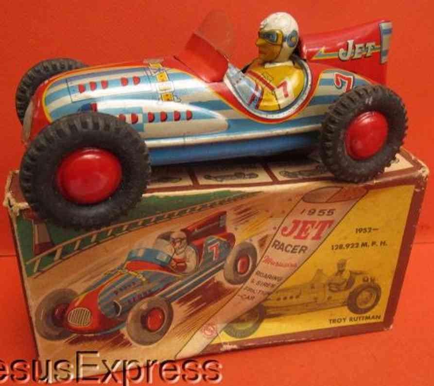marusan shoten 1952 blech spielzeug rennauto jet rennwagen mit fahrer troy ruttman und friktionsantrieb