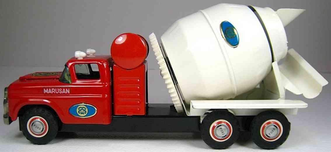 marusan shoten blech spielzeug lastwagen betonmischlastwagen in weiß und rot mit friktionsantrieb, er