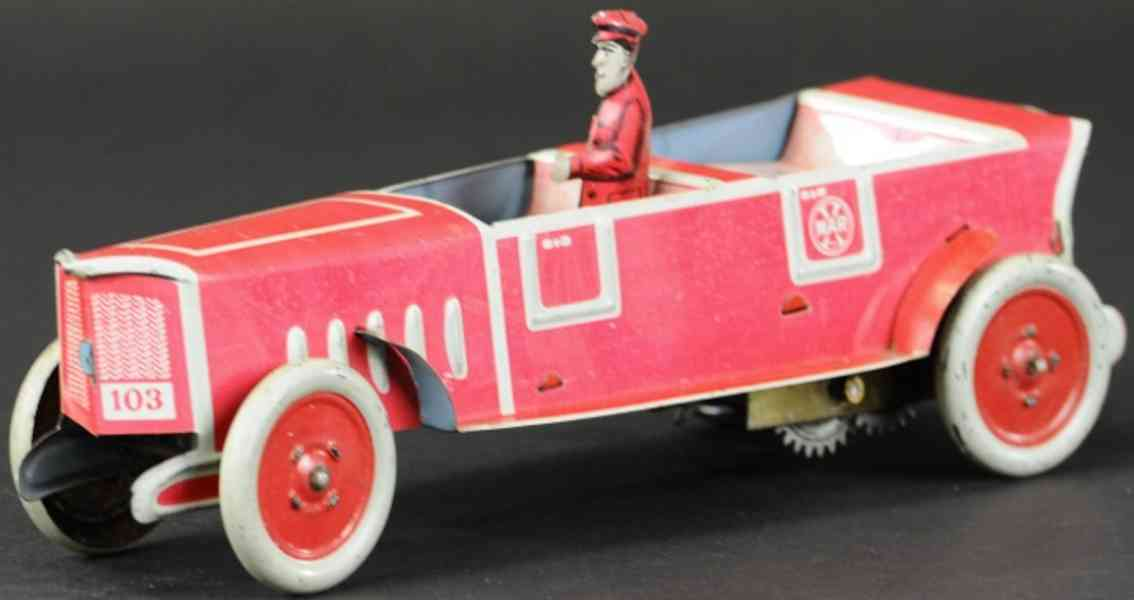 marx louis blech spielzeug auto tourenwagen rot