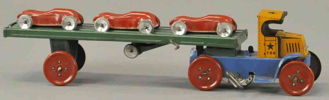 marx louis tin toy small car carrier with three red cars