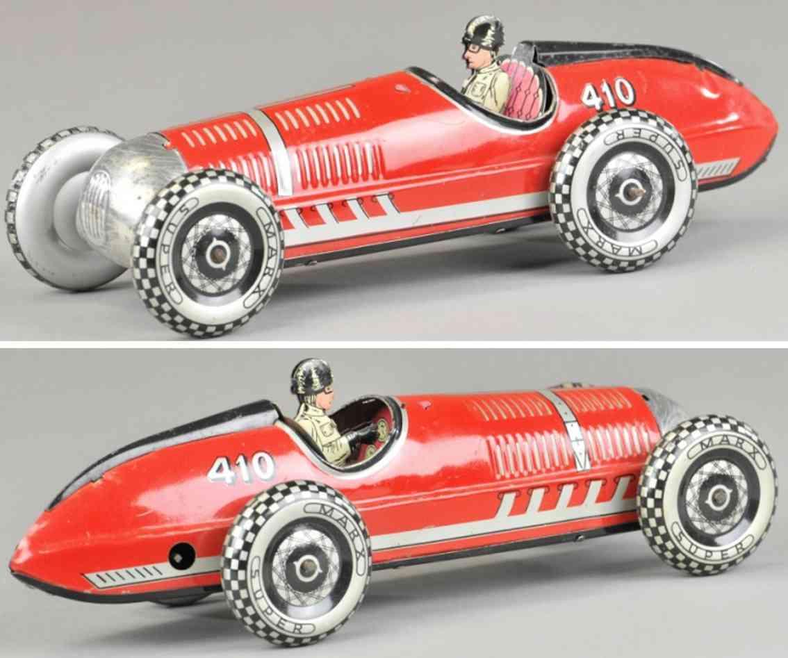 marx louis 410 blech spielzeug auto rennwagen rot uhrwerk