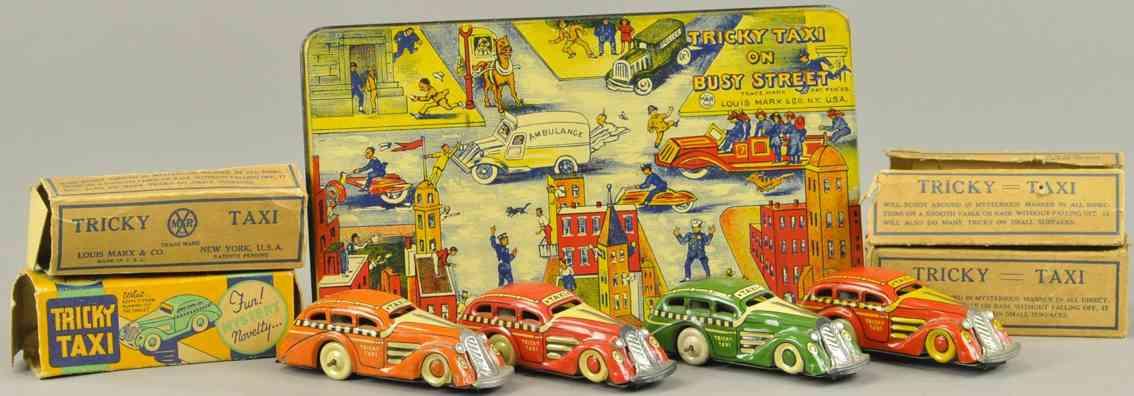 marx louis blech spielzeug das spiel trick taxi vier autos uhrwerk