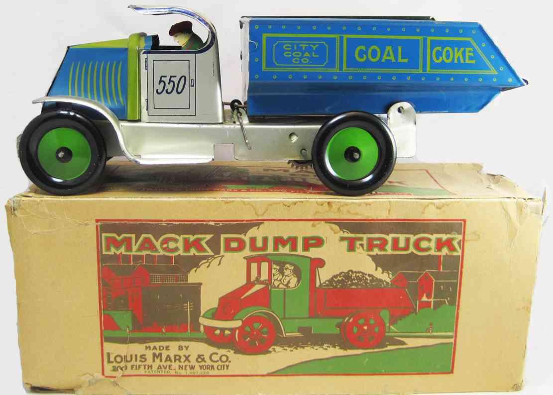 marx louis 550 tin toy windup  coal truck