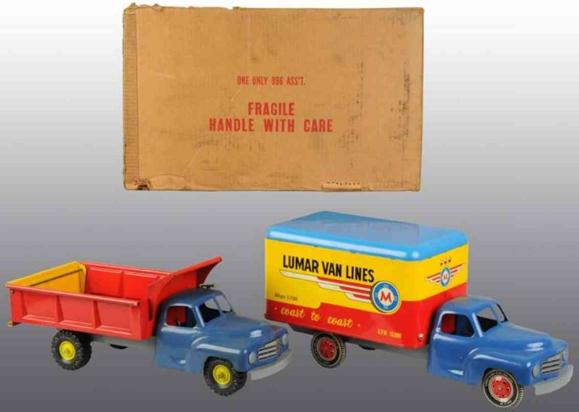 Marx Louis 996 Truck assortment dump truck and Lumar Van Lines truck
