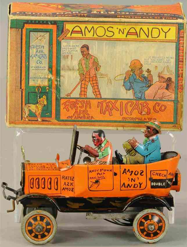 marx louis tin toy car amos n  andy fresh air taxi