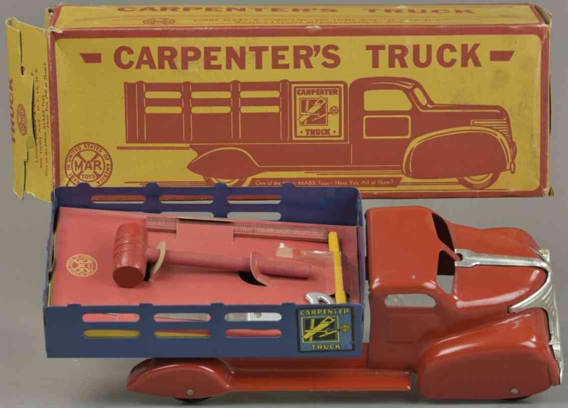 marx louis blech spielzeug carpenters lastwagen rot blau