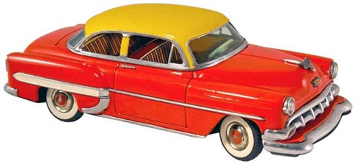 marx louis tin toy car chevy 2-door sedan friction drive yellow red