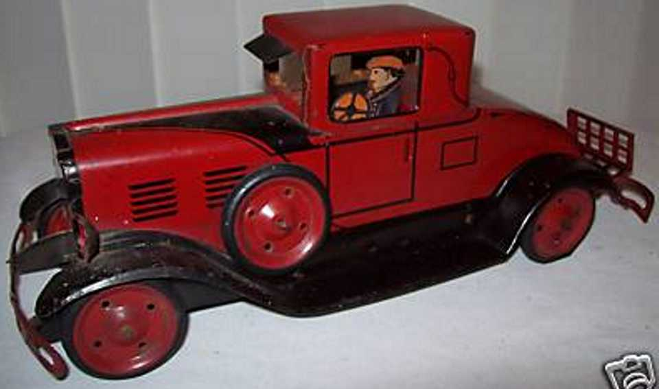 marx louis pressed steel windup toy car coupe red black