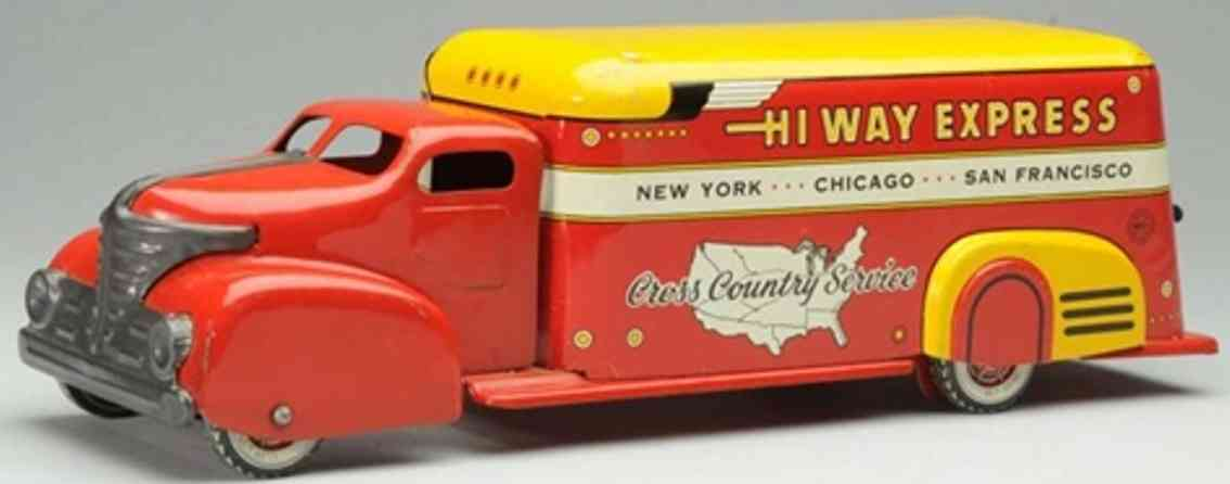 marx louis pressed steel toy highway express delivery truck