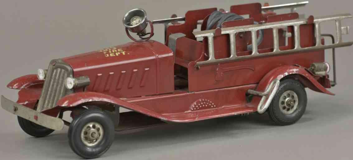 marx louis stahlblech spielzeug feuerwehrleiterwagen rot