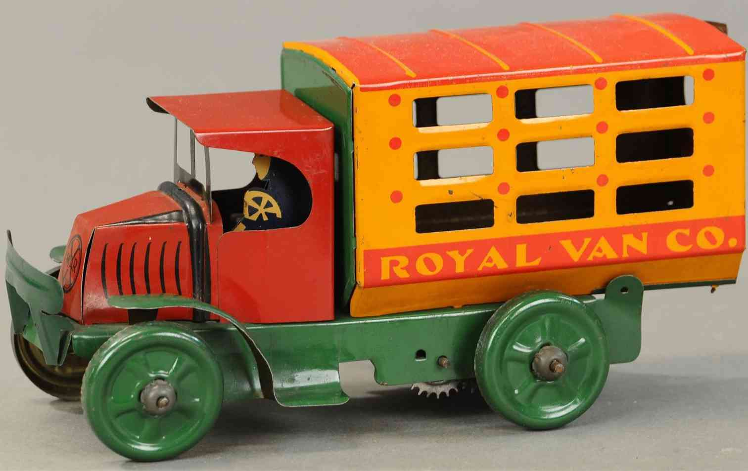 marx louis tin windup toy merchant transfer truck slotted sides