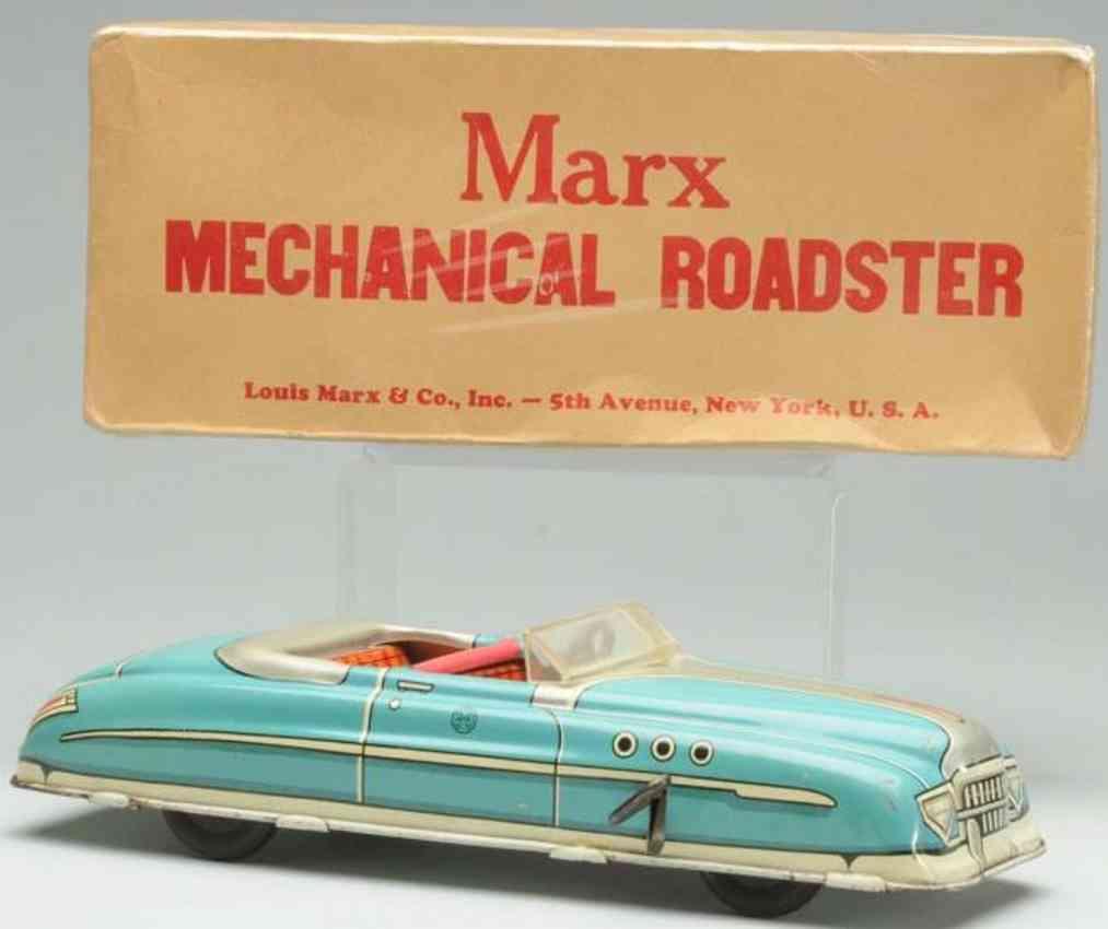 marx louis tin toy car mechanical roadster blue