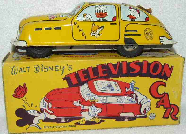 marx louis blech spielzeug televison auto mit friktionsantrieb