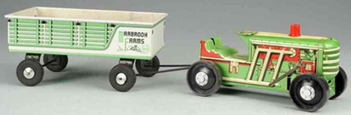 marx louis tin marbrook farms tractor trailer wind-up toy