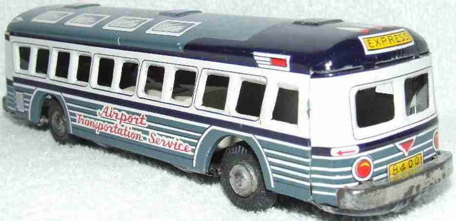 marx louis tin toy airport transportation service bus