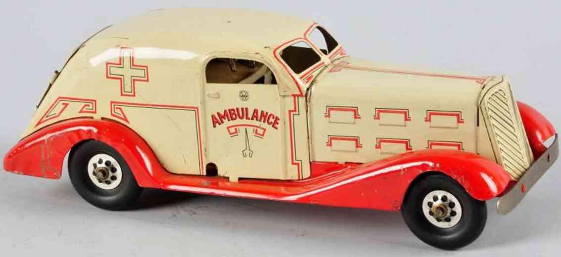 marx louis pressed steel toy car ambulance car