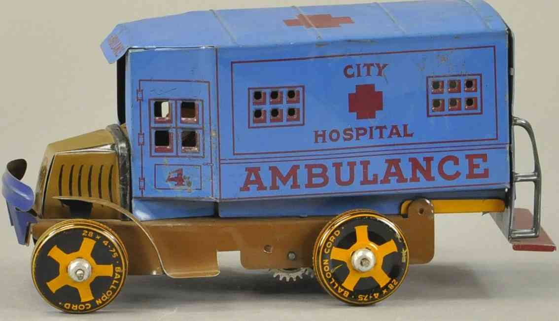 marx louis blech spielzeug mack krankenwgen blau city hospital ambulance