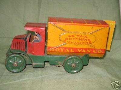 marx louis 320 blech spielzeug lastwagen rot gelb gruen
