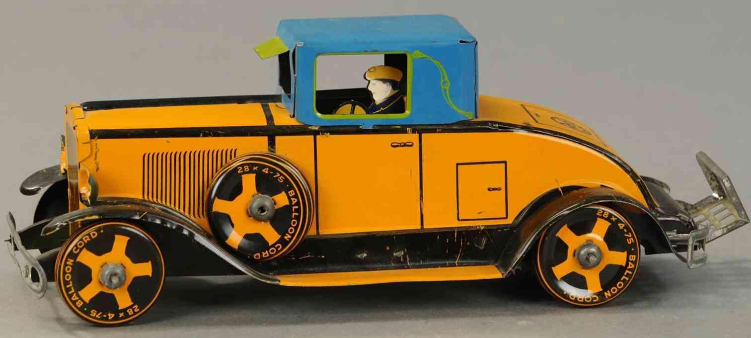 marx louis blech spielzeug auto coupe orange blau fahrer uhwerk