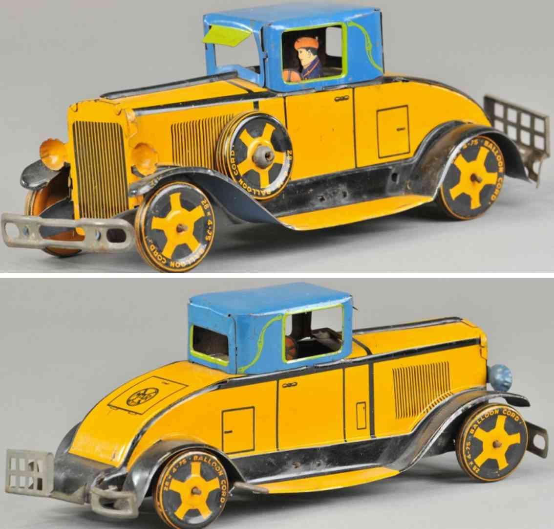 marx louis tin toy car coupe orange blue driver clockwork