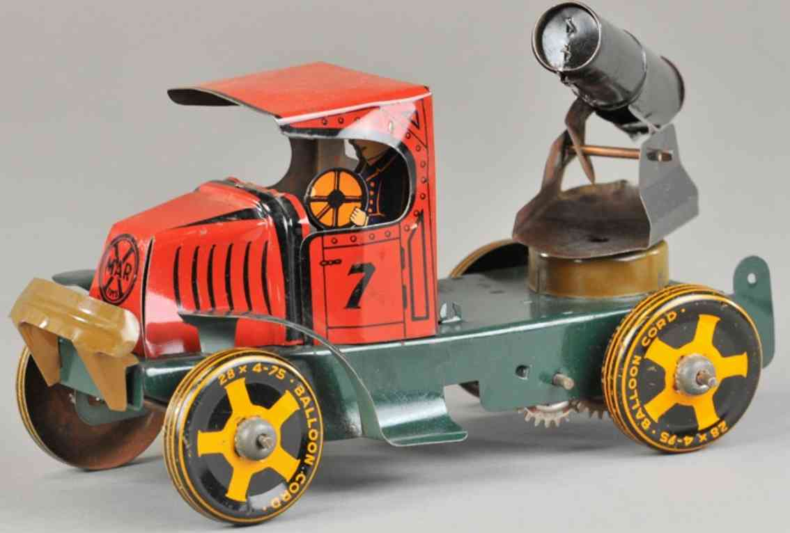 marx louis tin toy truck cannon truck red green black clockwork