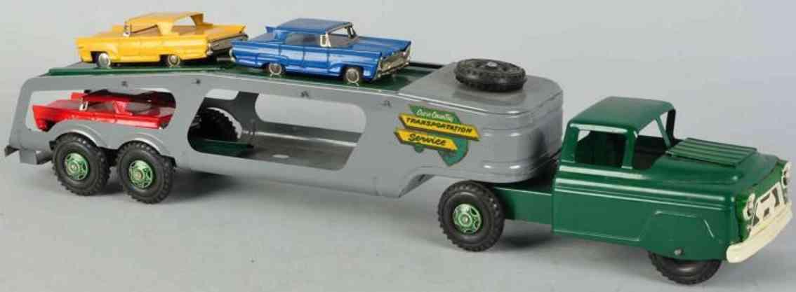 Marx Louis Auto Transportlastwagen aus Stahlblech in grün und grau