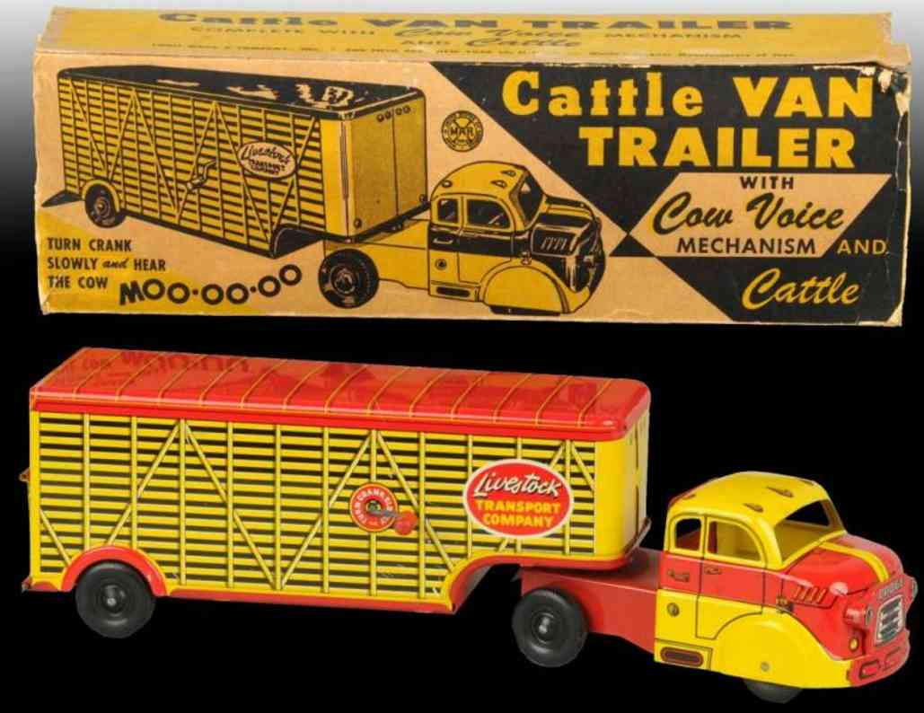 marx louis pressed steel toy truck cattle van trailer with cow voice