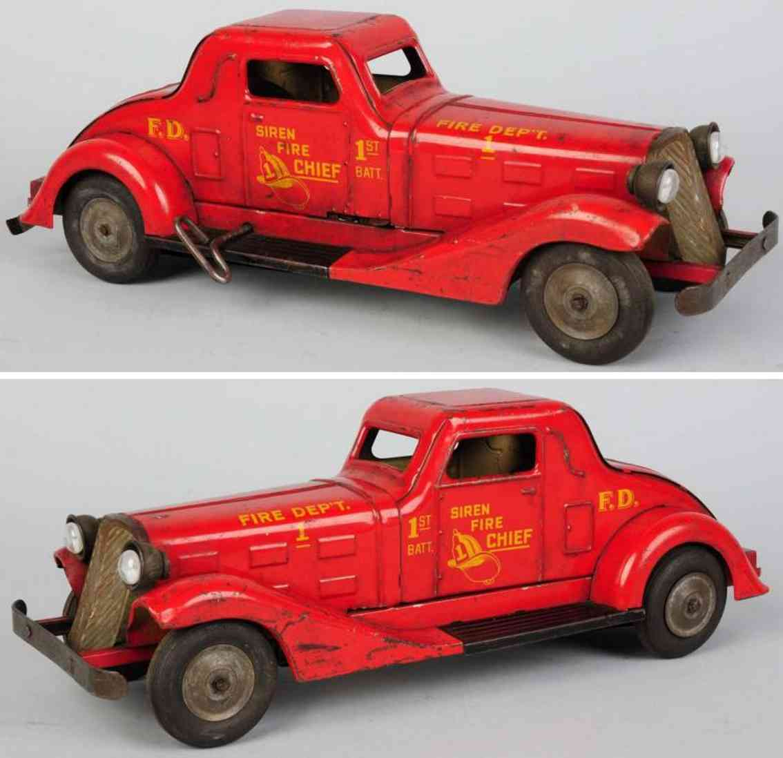 marx louis tin toy pressed steel siren fire chief car with wind-up mechanism