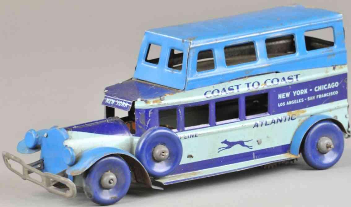 marx louis coast to coast tin toy bus blue greyhound lines