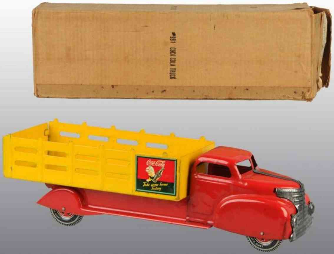 marx louis 991 pressed steel toy coca-cola stake back truck red yellow