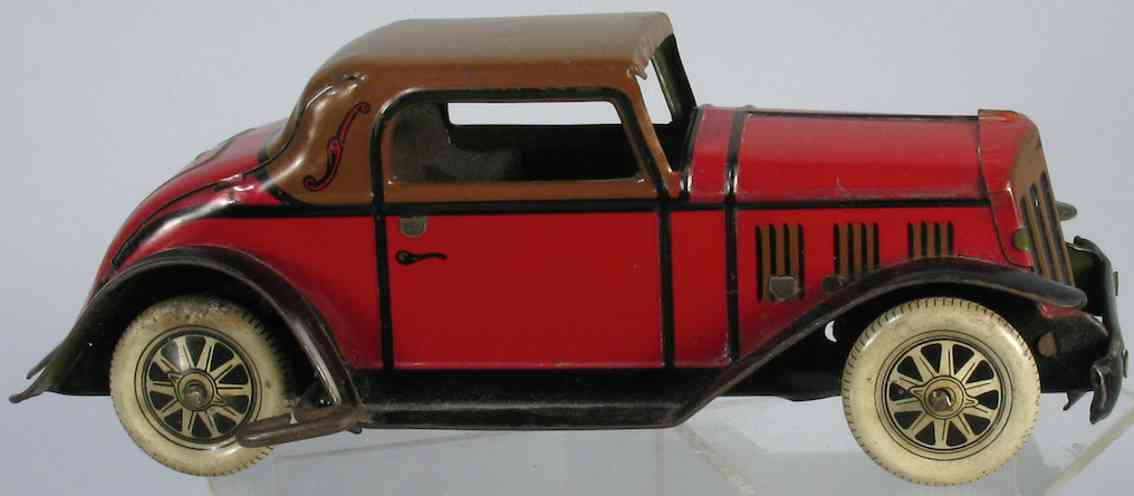 marx louis 1708 tin windup toy coupe art deco car red brown