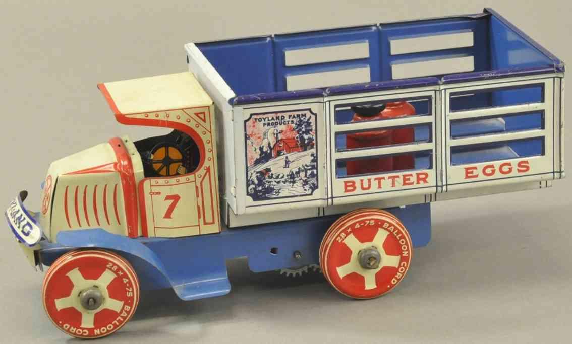 marx louis blech spielzeug molkerei-lastwagen mack c kabine uhrwerk