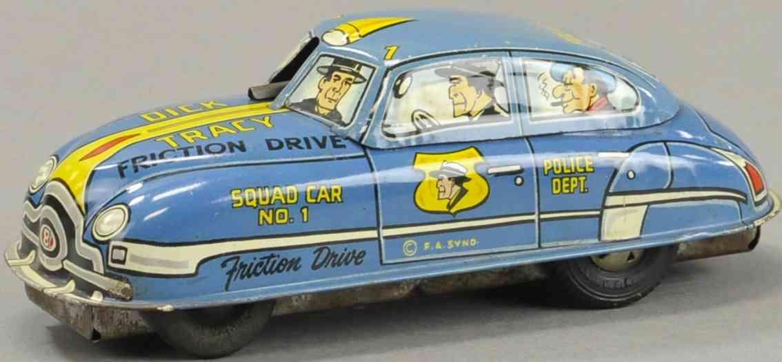 marx louis blech spielzeug dick tracy auto mit friktionsantrieb