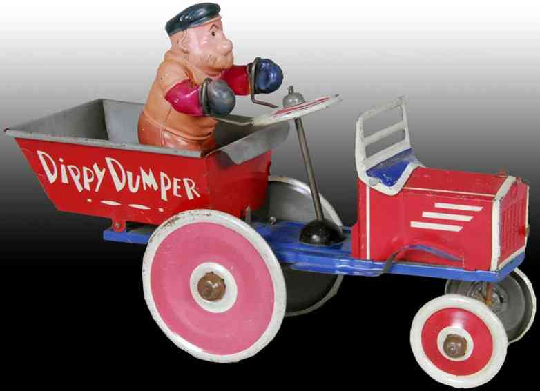 marx louis tin wind-up toy car dippy dumper red