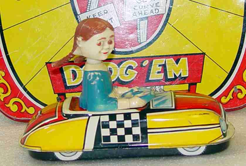 Marx wind-up tin toy named Dipsy-Doodle Bug Dodg'em