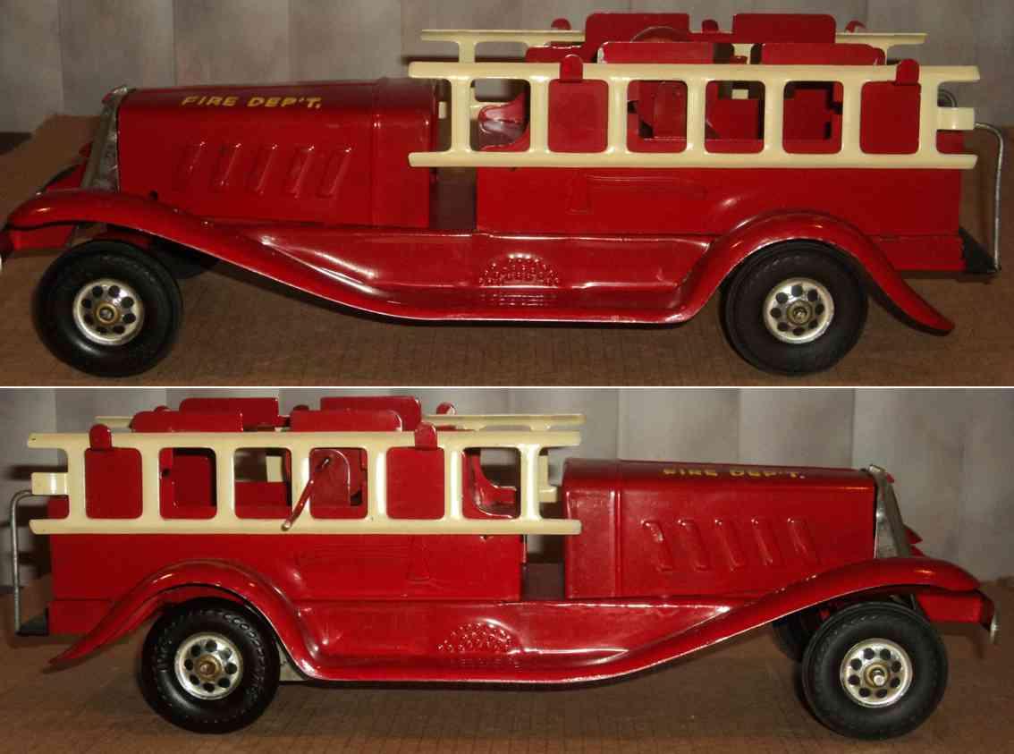 marx louis 9000 tin toy fire engine truck patrol car