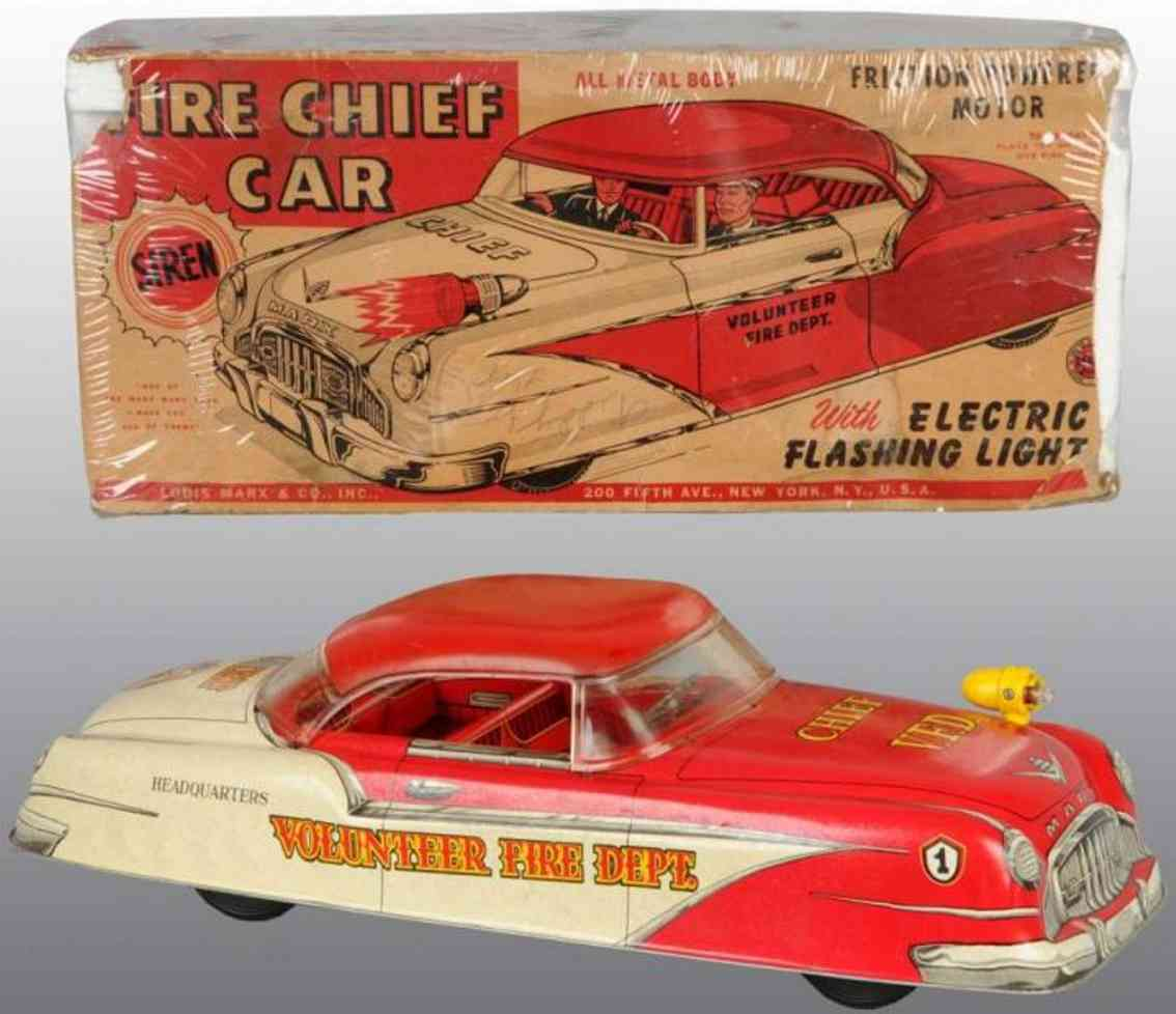 marx louis tin toy fire engine fire chief car red white