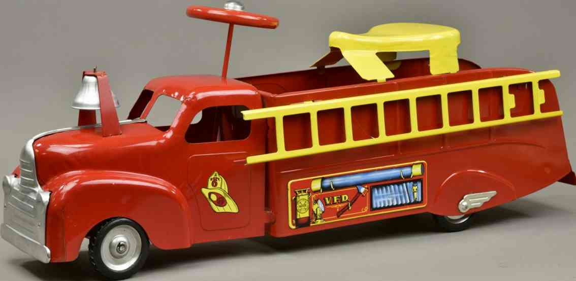 marx louis stahlblech spielzeug aufsitz feuerwehrleiterwagen rot gelbe leiter