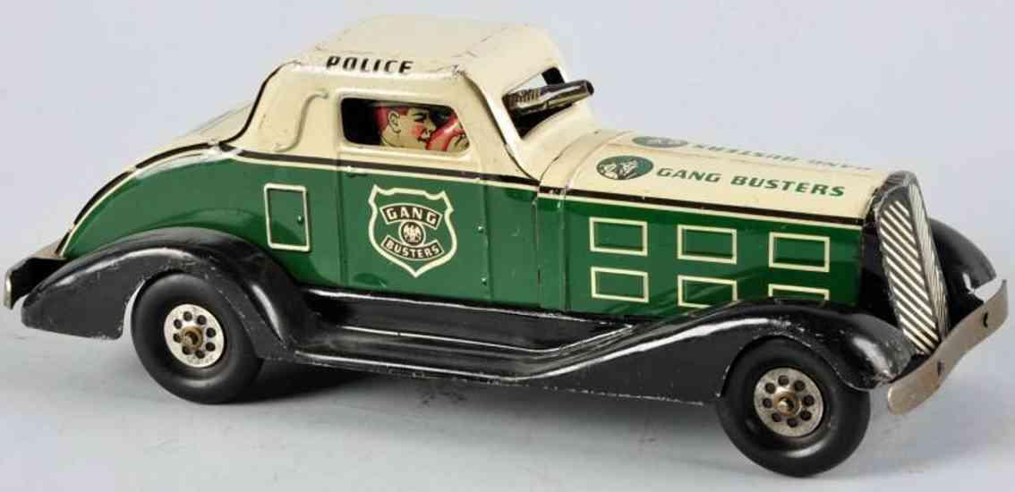 marx louis pressed steel windup toy car gang busters car