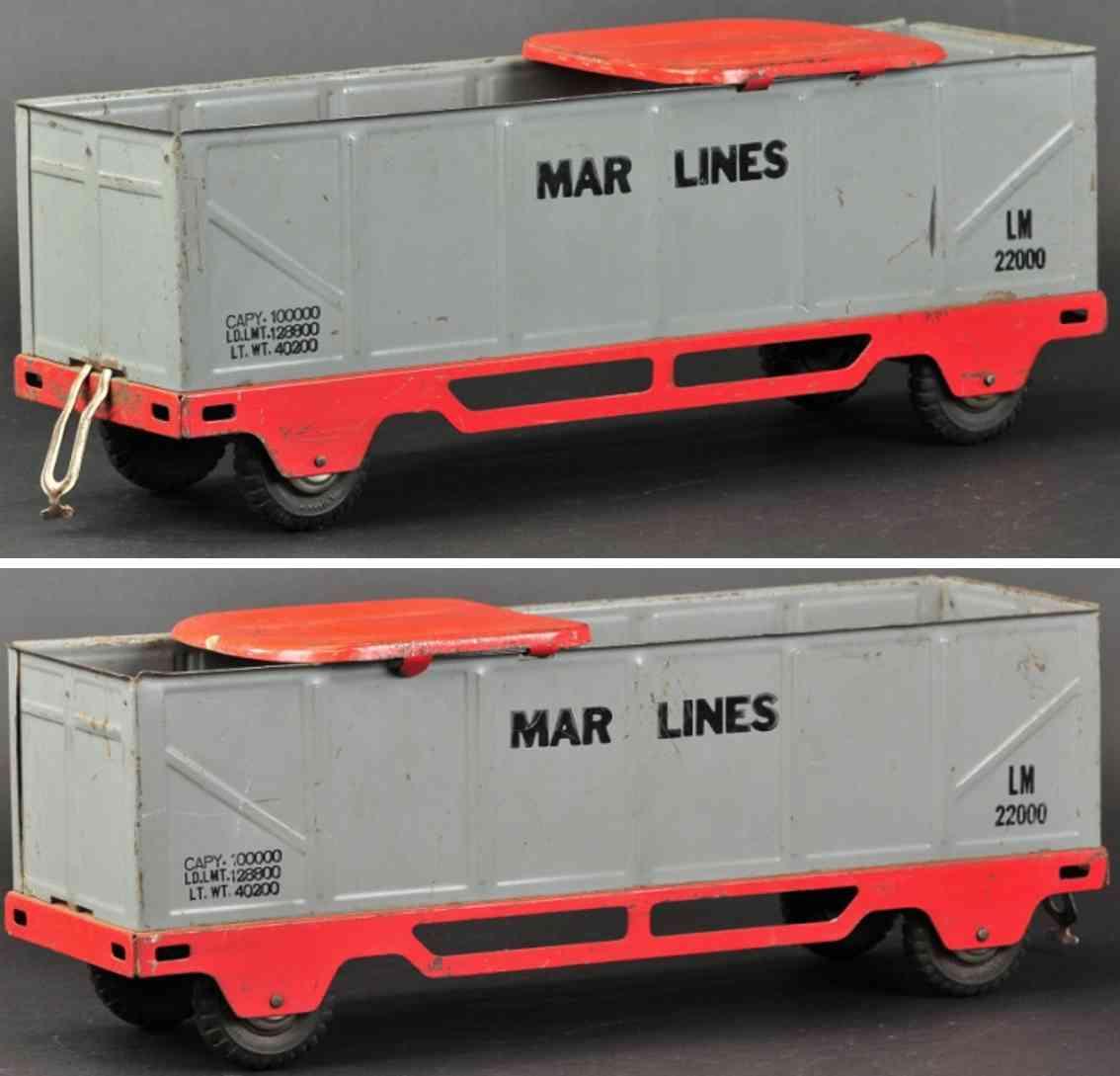 marx louis stahlblech spielzeug tretauto aufsitz-/rutsch-offener gueterwagen