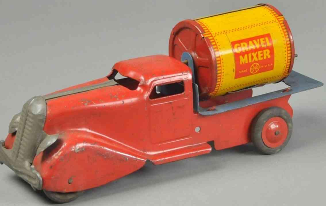 marx louis blech spielzeug lastwagen zementmischmaschine orange