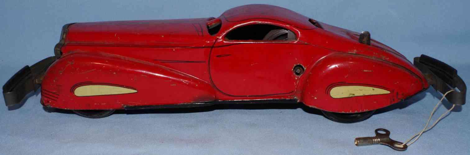 marx louis blech spielzeug auto stromlinienfoermige limousine rot