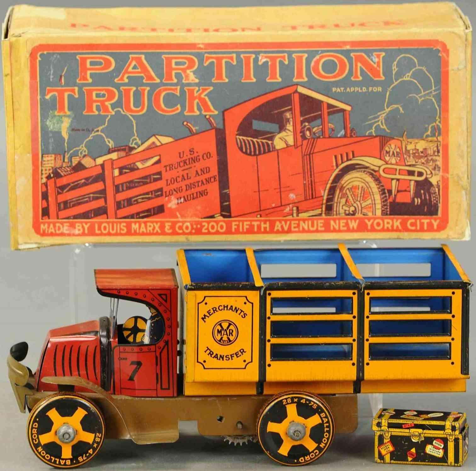 marx louis blech haendler transportwagen rot gelb braun blau