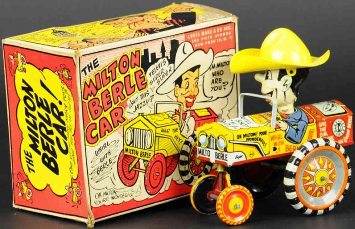 marx louis blech spielzeug milton berle auto hut gelb