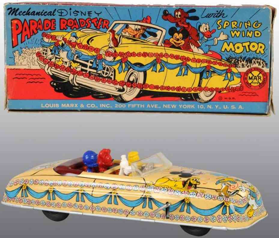 marx louis tin toy car disney parade roadster spring