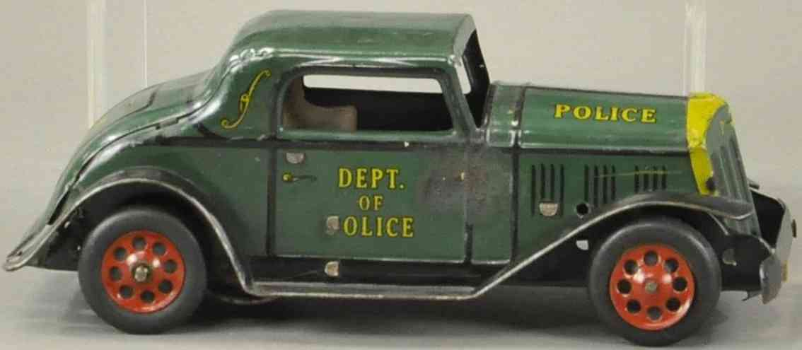 marx louis tin toy police chief coupe in green and yellow