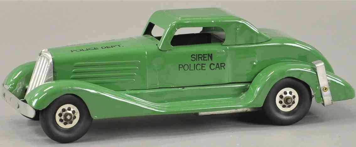 marx louis pressed steel toy car siren police patrol car windup green
