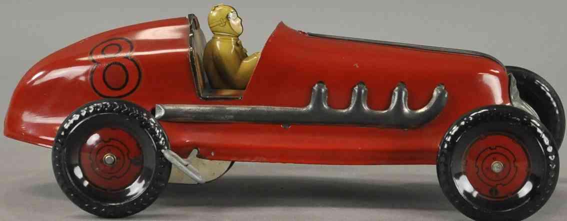 marx louis blech spielzeug rennauto rennwagen 8 rot fahrer uhrwerk
