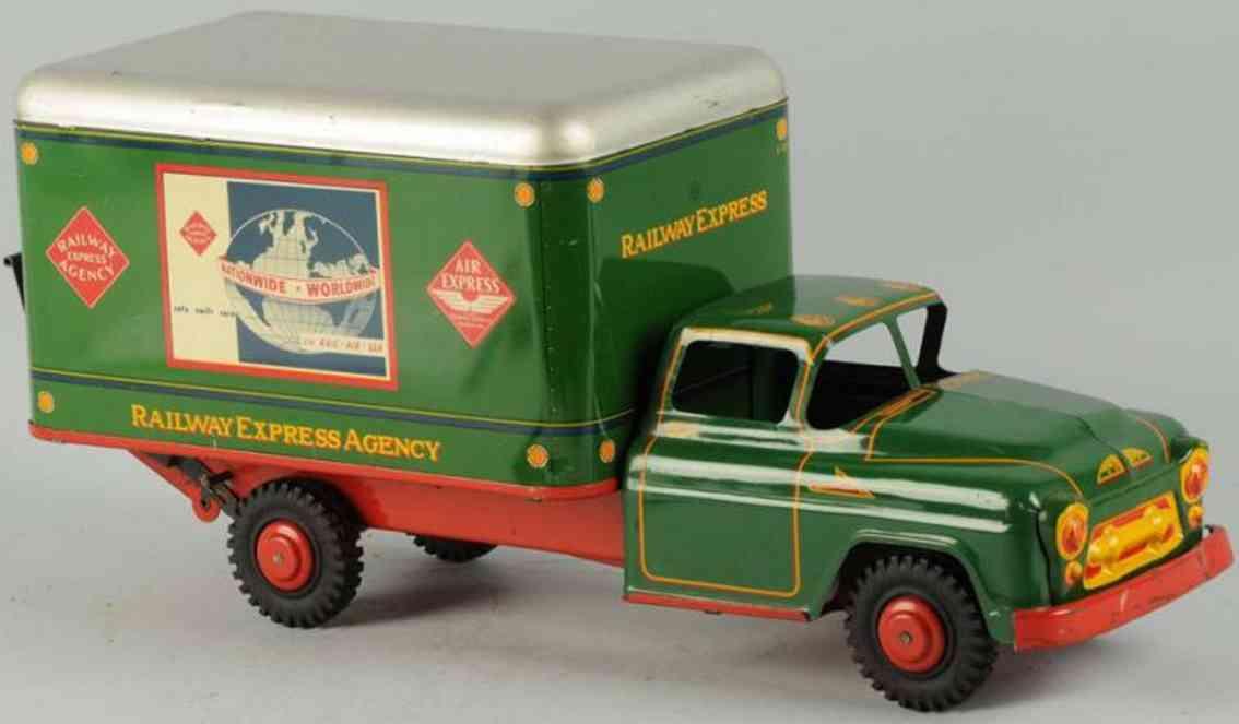 marx louis stahlblech spielzeug lastwagen gruen rot silber